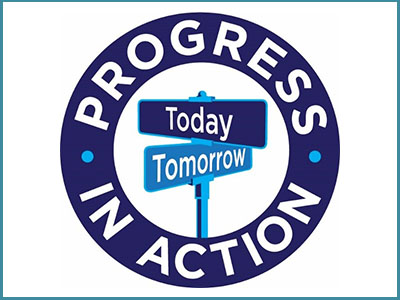 Progress in Action logo. Today/Tomorrow road signs.