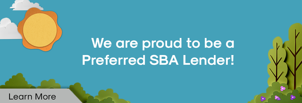 AD - We are proud to be a Preferred SBA Lender! Trees, sun, clouds, flowers.