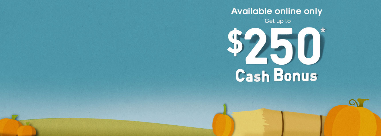 Ad- Available online only. Get up to $250* Cash Bonus.